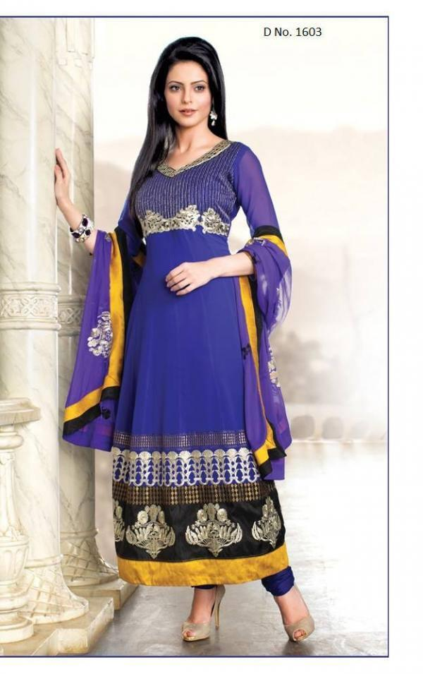 Aamna Sharif In Purple Long Unstitched Salwar Kameez With Dupatta