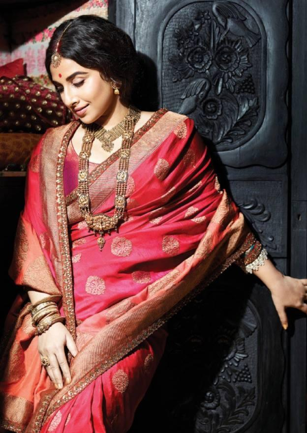 Vidya Balan In Saree Charming Beautiful Look Photo Shoots For Filmfare July 2013