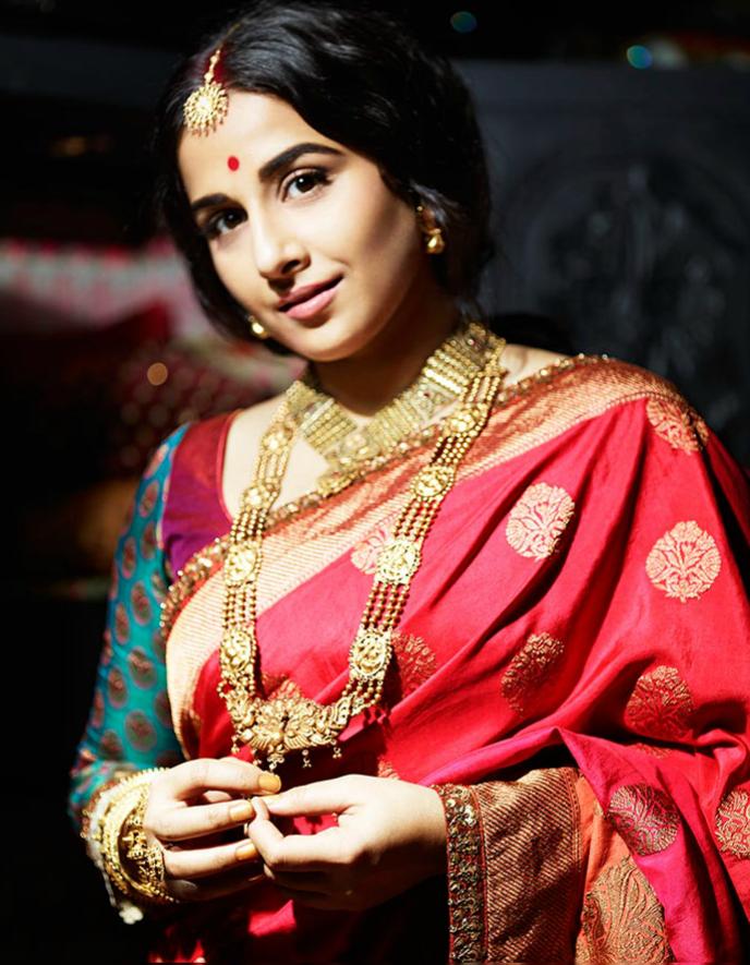 Vidya Balan In Saree Traditional Look Photo Shoots For Filmfare July 2013