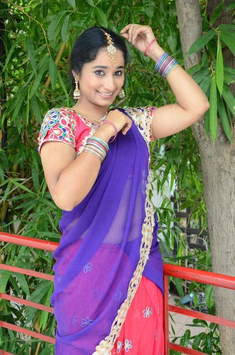 Manasa Cute Look Photo Shoot In Half Saree