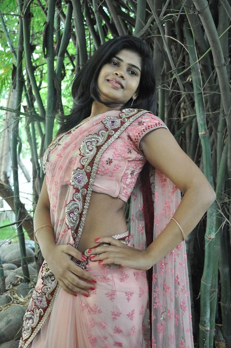 Alekhya Spicy Pose Photo Shoot In Pink Netted Saree
