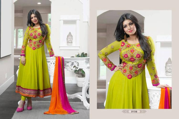 Ayesha Takia Nice Still In Lime Green Color Anarkali Suit