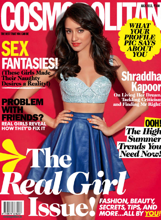 Shraddha Kapoor Gorgeous Look Featured On The Cover Of Cosmopolitan July 2013 Magazine Issue