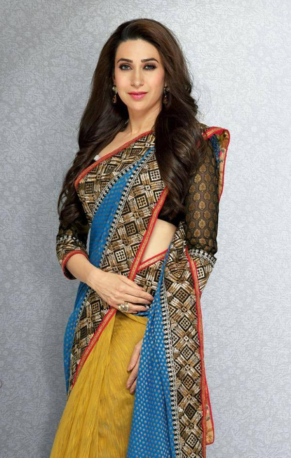 Hot Diva Karisma Kapoor Stylist Pose Photo Shoot In Saree