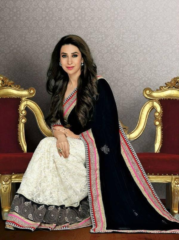 Karisma Kapoor Cool And Fresh Look Still In Black And White Color Saree