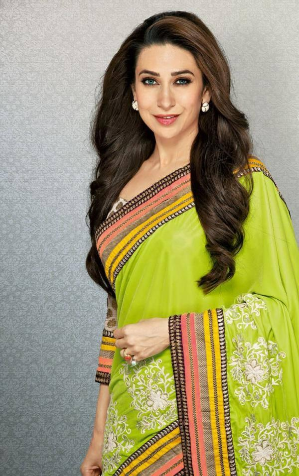 Karisma Kapoor Hot Photo Shoot In Lime Green Color Saree
