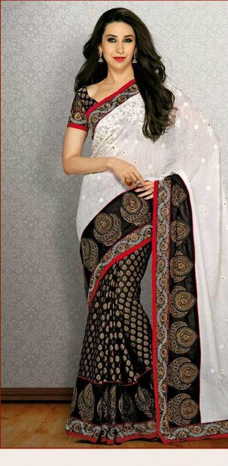 Karisma Kapoor Hot Photo Shoot In White And Black Saree