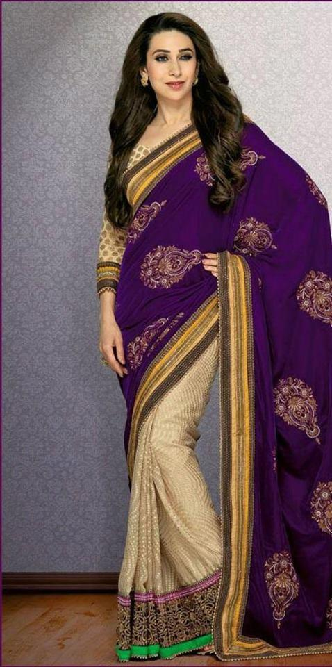 Karisma Kapoor Sexy Pose Photo Shoot In Violet Saree