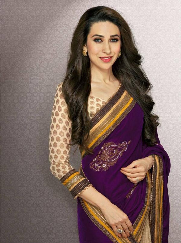Karisma Kapoor In Violet Saree Gorgeous Pic