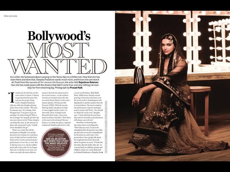 Deepika Padukone Beautiful Look In Lehenga Photo Shoot For Femina India August 2013 Issue