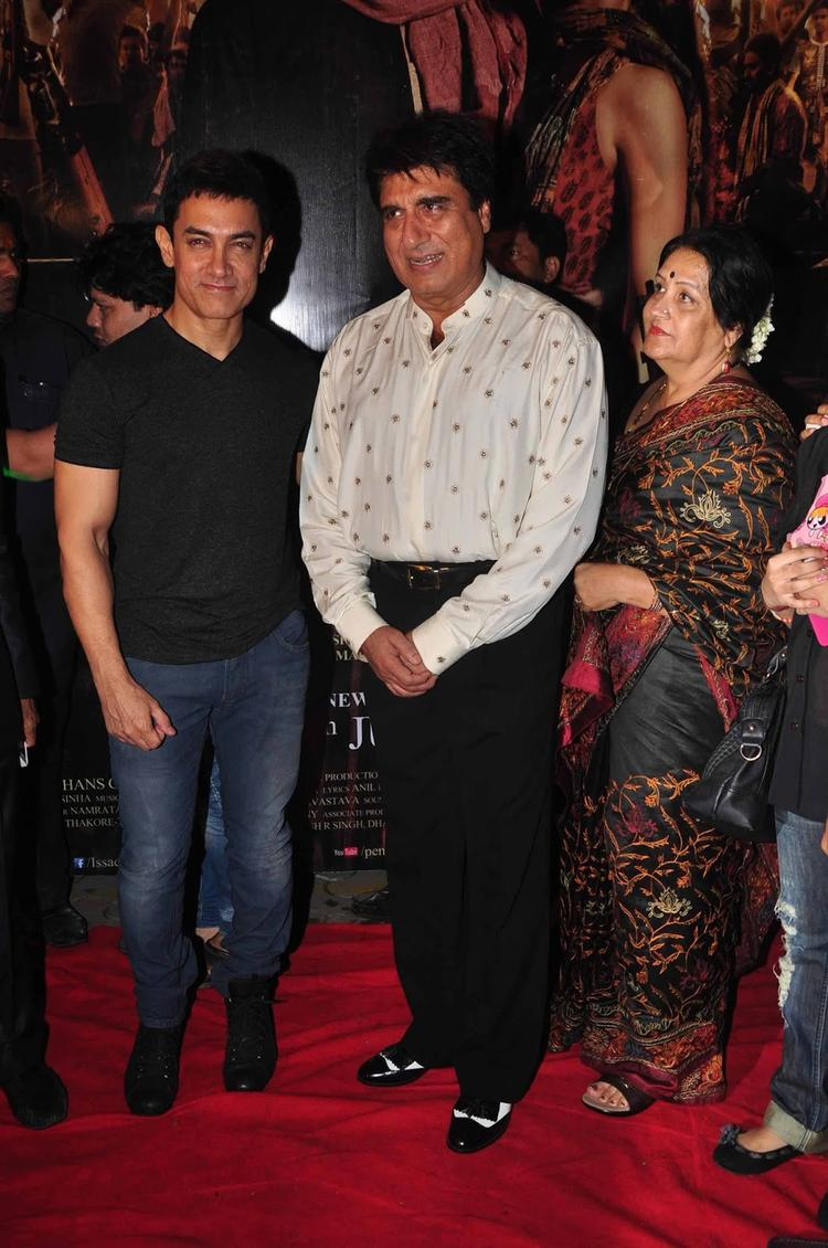 Raj Babbar And Aamir Khan On Red Carpet For The Screening Of  Issaq