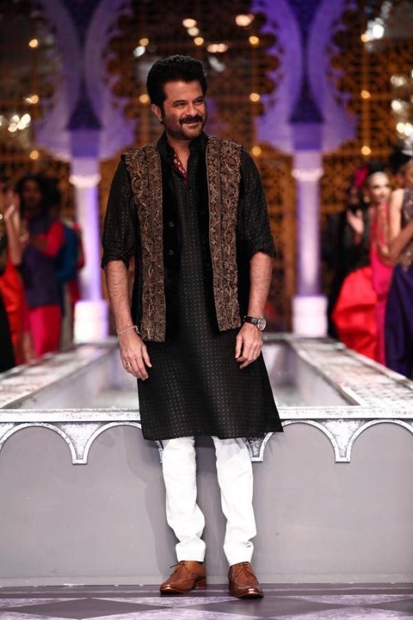 Anil Kapoor Showcasing Raghavendra Rathore Creations On Day 3 Of The India Bridal Fashion Week 2013
