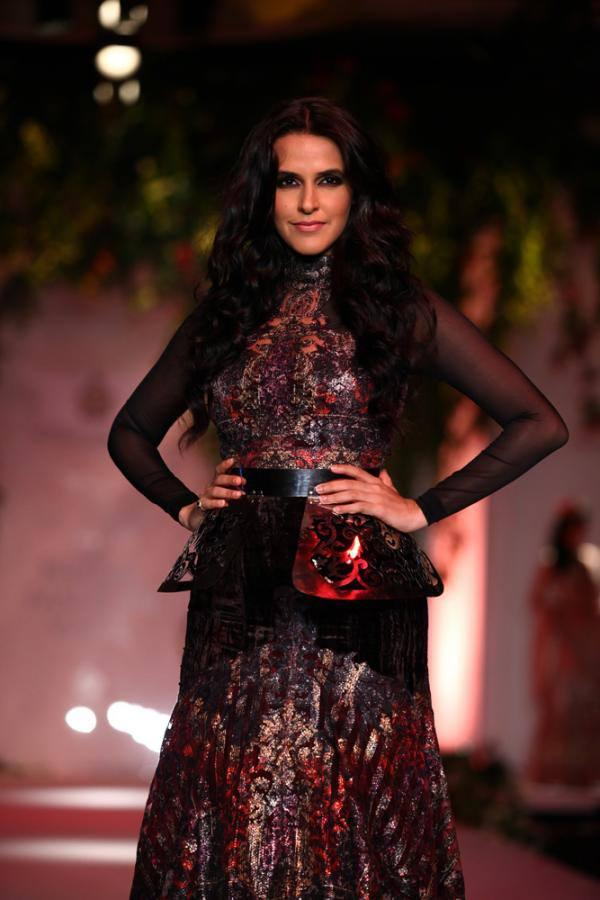 Actress Neha Dhupia Walks The Ramp With Designers Falguni And Shane Peacock On Day 3 Of The IBFW 2013