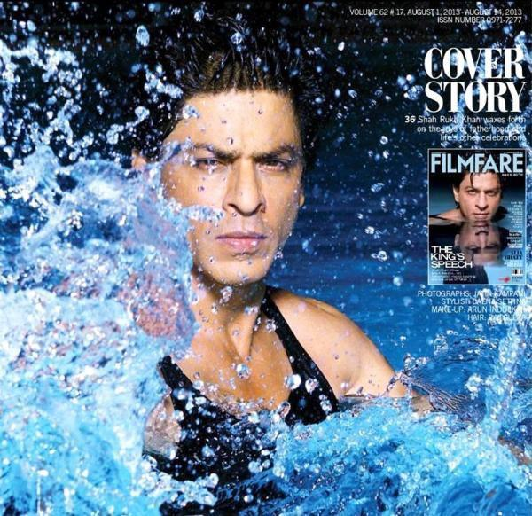 Shahrukh Khan Hot Dazzling Look In Sparkling Water For Filmfare August 2013