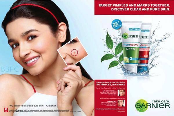 Alia Bhatt's Garnier's Pure Active Print Ad Still