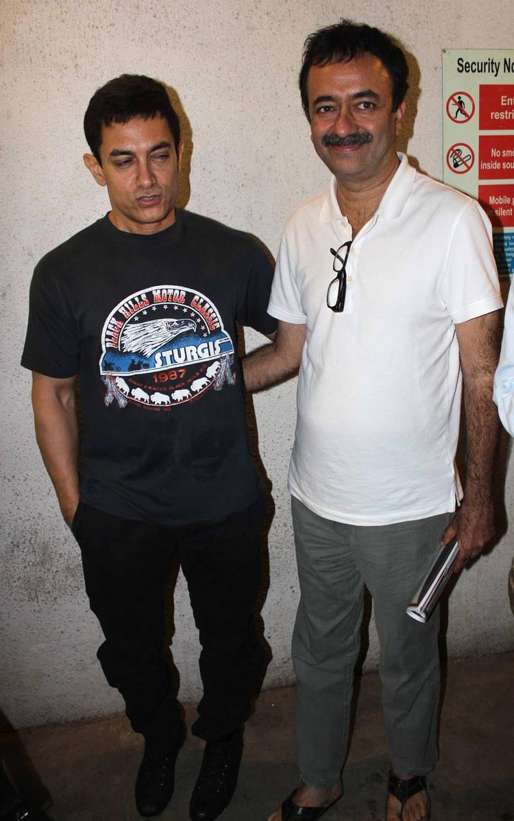 Aamir Khan Snapped While Dubbing For His Film With Director Rajkumar Hirani