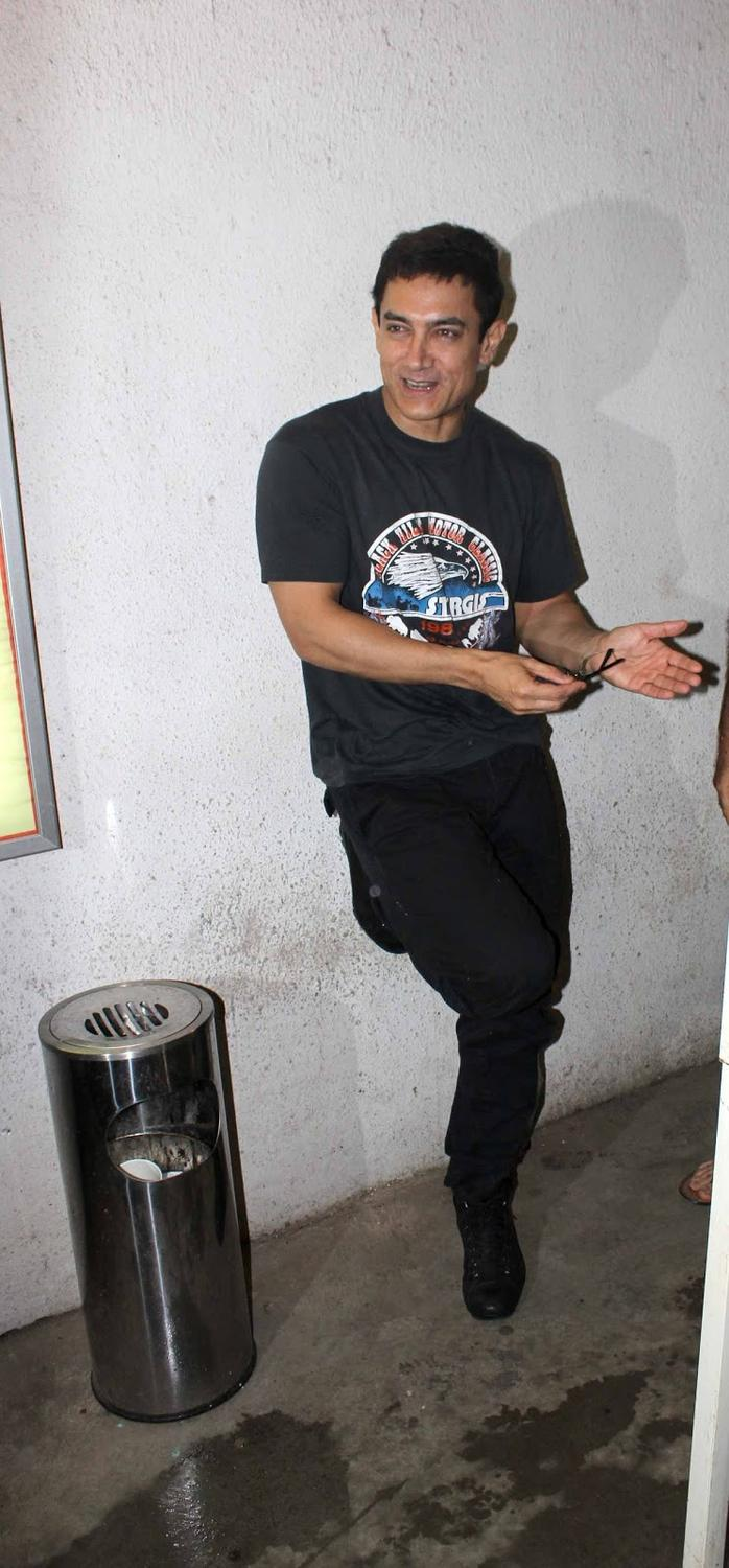 Aamir Khan Snapped While Dubbing For His Film Peekay