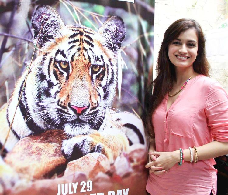 Casually Dressed Actress Dia Mirza At The Promotion Of Save The Tiger Campaign