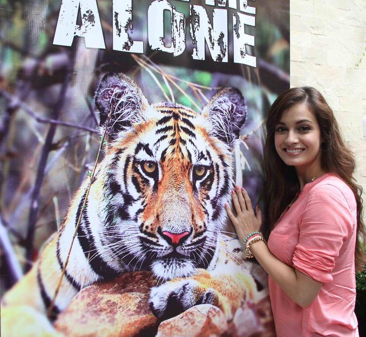 Dia Mirza Is All Smiles During The Promotion Of Save The Tiger Campaign, Held At Press Club, In Mumbai