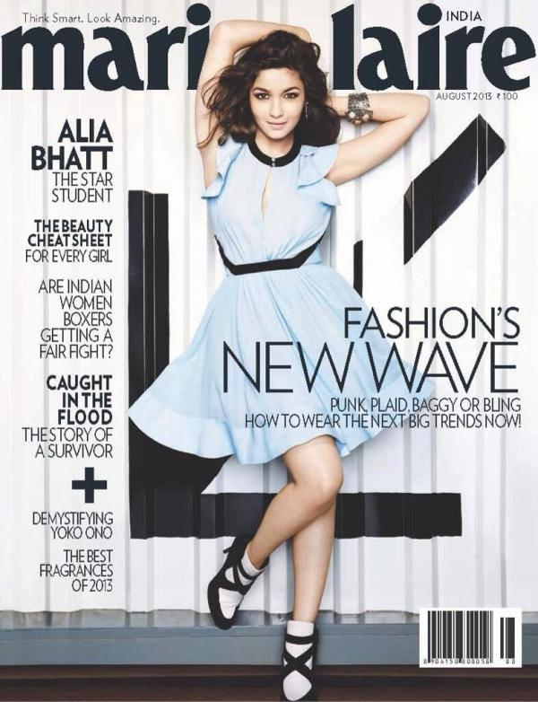 Alia Bhatt Cute Hot Still On The Cover Of Marie Claire Magazine August 2013 Issue