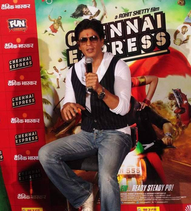 Shahrukh Khan Speaking At Fun Cinemas In Bhopal During The Promotion Of Chennai Express