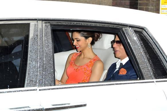 SRK And Deepika Snapped In Car During The Promotion Of Chennai Express At Cineworld Feltham In London