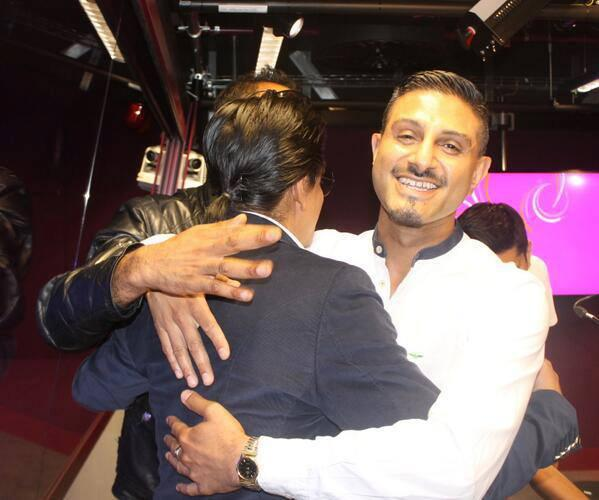 SRK Hugs A Fan During Chennai Express Premiere At Cineworld Feltham In London