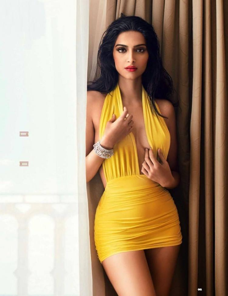 Sonam Kapoor In Yellow Dress Chiseled Look For GQ India August 2013 Issue