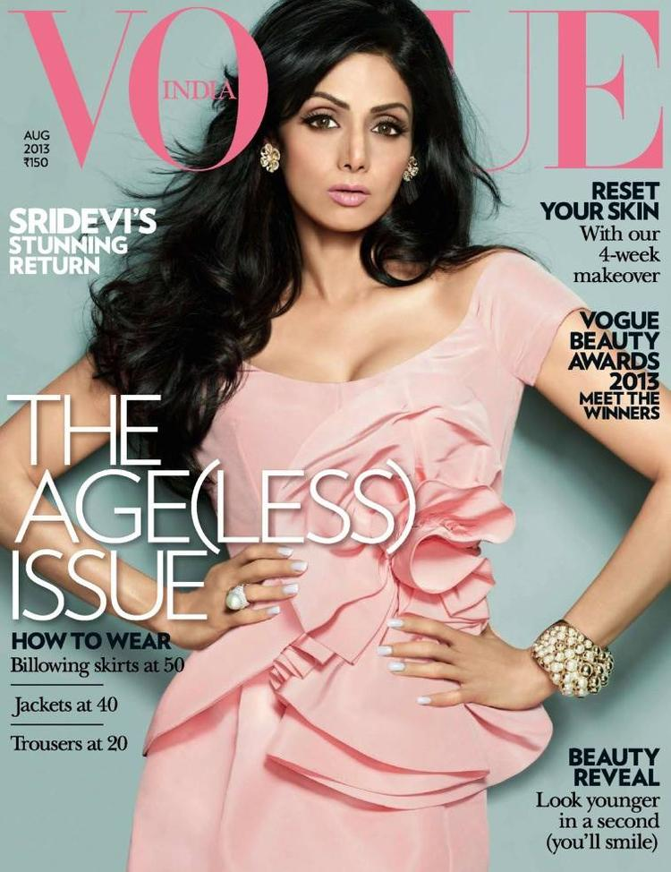 Sridevi Kapoor Hot And Sexy Look On The Cover Of Vogue India August 2013