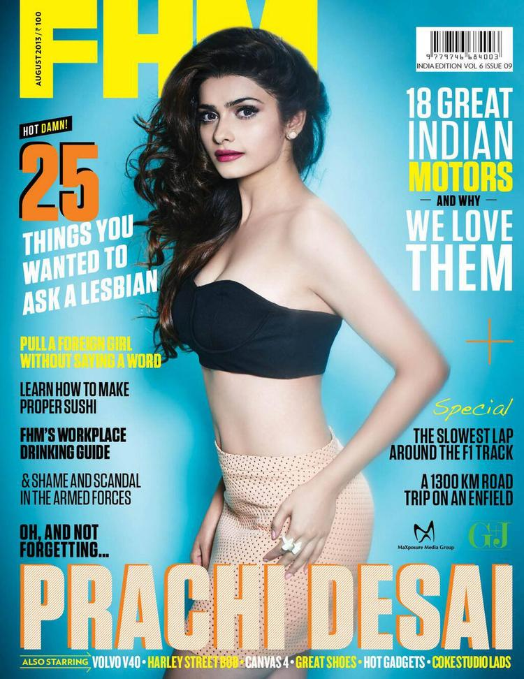 Prachi Desai Sexy Look Featured On The Cover Of FHM India Magazine August 2013
