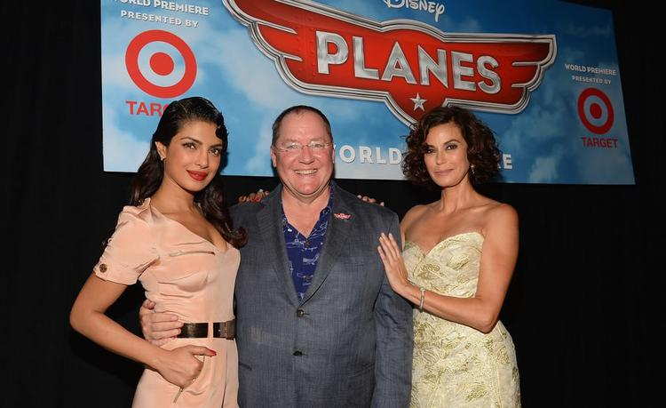 Priyanka,John Lasseter And Teri Hatcher Smiling Look At The Premiere Of Disney's Planes
