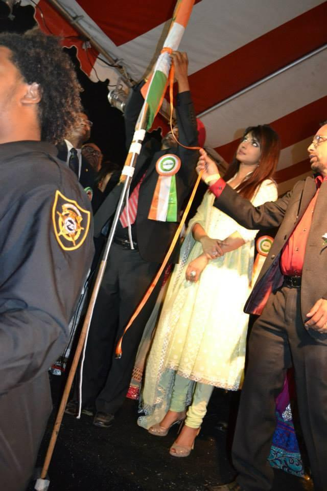 Priyanka Chopra Hosting The Indian Flag At The India Day Parade 2013 In LA