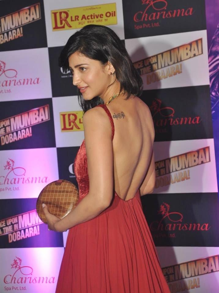 Shruti Hassan Back Bare Still In Red Gown For Attend Ekta Kapoor's Iftar Party