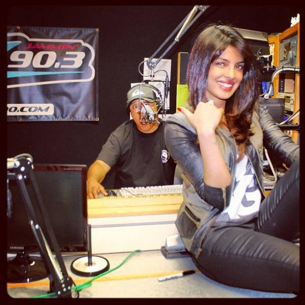 Priyanka Chopra Smiling Look In 90.3 Studio During The Promotion Of Exotic At LA