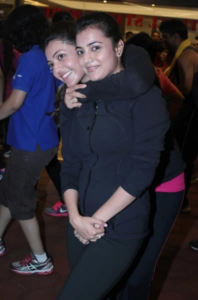 Actress Kajal With Sister Nisha At Zumba Fitness Centre Gold Gym In Mumbai