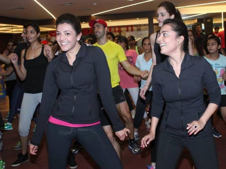 Kajal And Nisha Dancing At Zumba Session Gold Gym