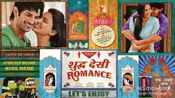Sushant,Parineeti And Vaani In Shuddh Desi Romance Movie Poster