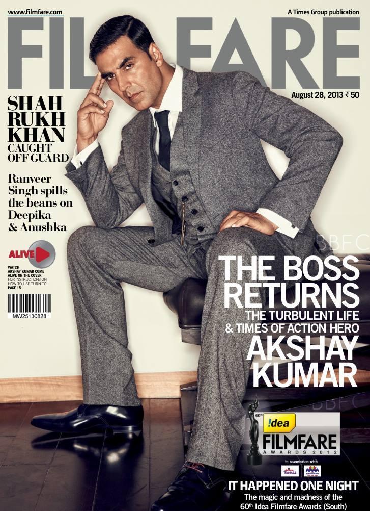 The Khiladi Akshay Kumar On The Cover Of Filmfare August Issue