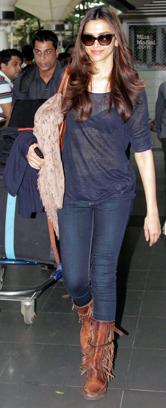 Deepika Padukone Spotted At Mumbai Airport After Super Success Of Chennai Express