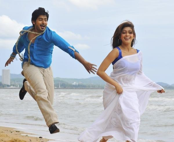 Prajwal And Pranitha Sea Beach Latest Pic From The Movie Angaraka