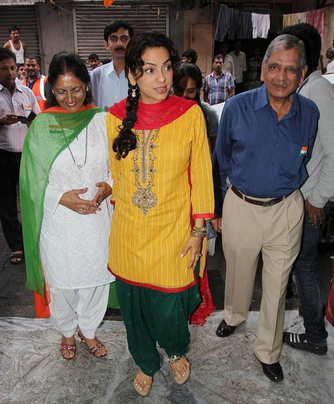 Juhi Chawla Attending The School For Mentally Challenged For Independence Celebrations