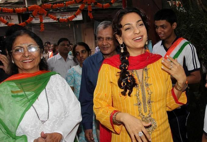 Juhi Chawla Spotted To Hoisting The National Flag At A School