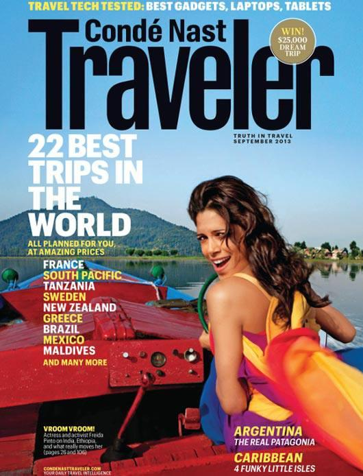 Freida Pinto On The Cover Of Conde' Nast Traveler For The September 2013 Issue