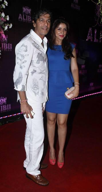 Chunkey With Wife Bhavna Clicked In Red Carpet At Sridevi's 50th Birthday Bash
