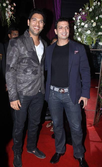 Cricketer Yuvraj Singh Smiling Pose In Red Carpet At Sridevi's 50th Birthday Party