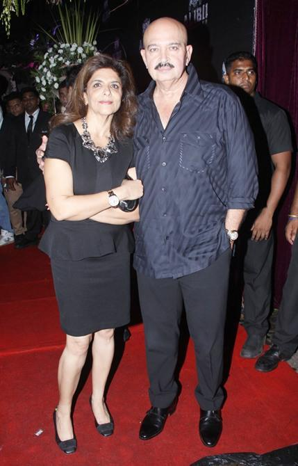 Pinky Roshan With Hubby Rakesh Roshan Present In Red Carpet At Sridevi's 50th Birthday Party
