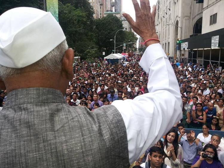 Huge Crowd Listening To Anna Hazare At Madison Avenue In NewYork