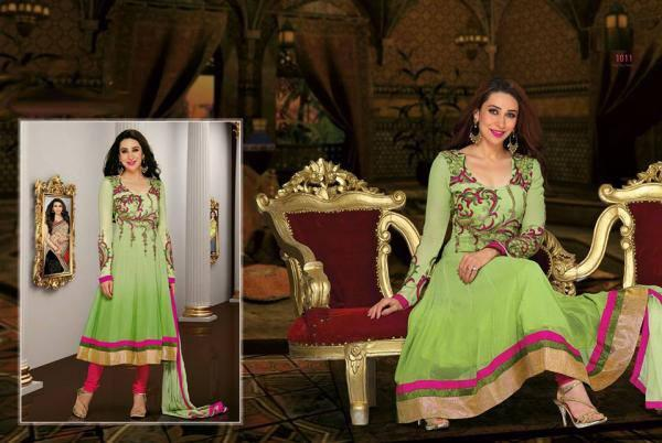 Karisma Kapoor Looking Amazing In This Lime Color Salwar Kameez Suit