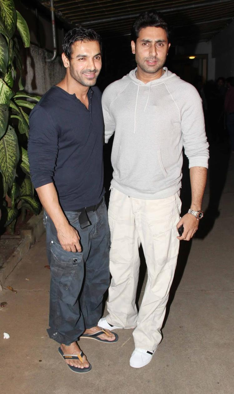 Abhishek At The Special Screening Of Madras Cafe For Support His Buddy John
