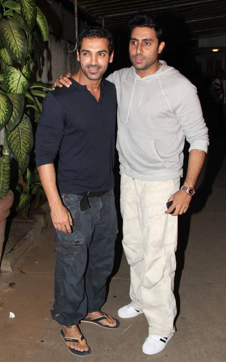 Abhishek Was Present At The Special Screening Of Madras Cafe To Support His Friend John
